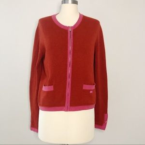 Chanel Cashmere Zip Front Cardigan Pink and Red